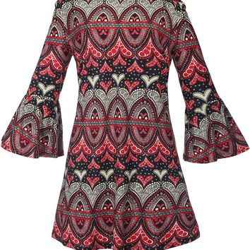 Casual Off Shoulder Bell Sleeve Shift Dress In Tribal Printed