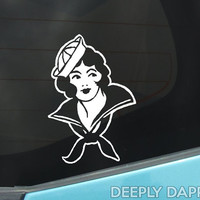 SAILOR GIRL Tattoo Decal - White Vinyl Sticker for Auto or Home Decor Based On Vintage Tattoos