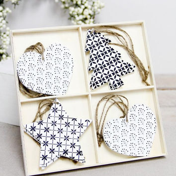 Set of 8 Hanging Wooden Decorations