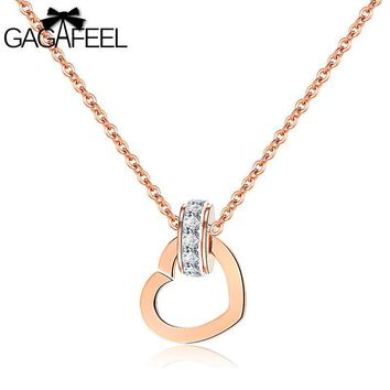 GAGAFEEL Heart Shape Interlocking Crystal Zircon Necklace For Women Jewelry Stainless Steel Rose Gold Chain Pendant Gift