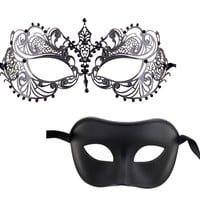 Luxury Mask Couple's Venetian Masquerade Mask Set BLACK on BLACK SERIES