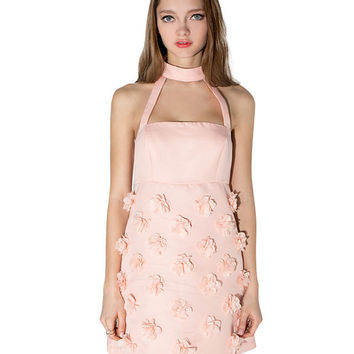 Pink Floral Detail Halter Mini Dress
