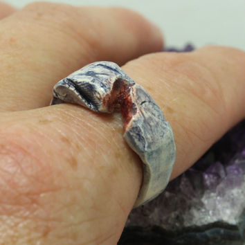 Blue red and purple Ceramic Ring Pottery ring Size 7 1/2  Unique jewelry R7