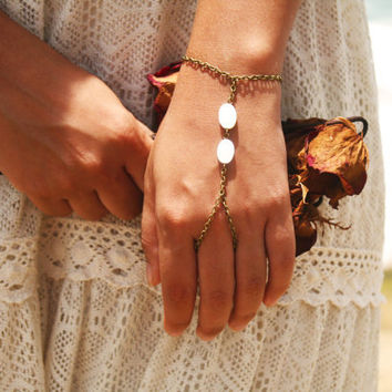 Slave Bracelet Hand Bracelet Piece Hipster Bronze Chain Bohemian Boho Two Mother  Pearl Beads Hand Jewelry Bridal