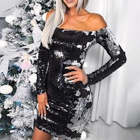 Off-the-Shoulder Color Changing Sequin Dress