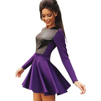 Women PU Cotton Patchwork Purple Dress White Long Sleeve Skater Dress High Waist Mini Dress Causal Two-tone Elegant Dresses
