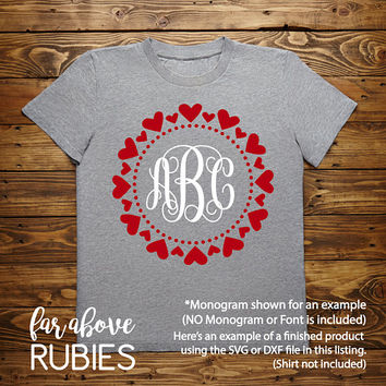 Happy Valentine's Heart Pattern Monogram Wreath Dots (monogram NOT included) SVG, EPS, dxf, png, jpg digital cut file for Silhouette Cricut
