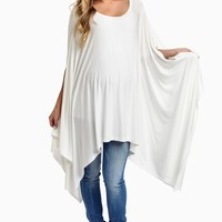 White-Asymmetric-Maternity-Top