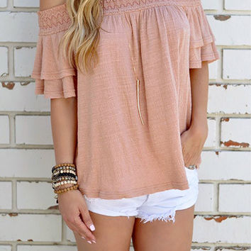 Streetstyle  Casual Cute Solid Color Bateau Off The Shoulder Top