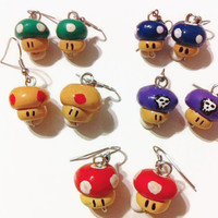 Mario Mushroom inspired earring Set, Super Mario bros, Video Game jewelry, gamer gifts, gift ideas, polymer clay charms, power up,