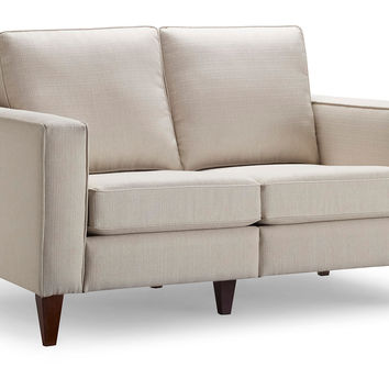 "Ella 57"" Love Seat, Cream, Sofas & Loveseats"