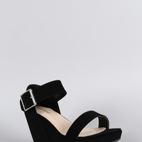 Bamboo Buckled Ankle Strap Platform Wedge