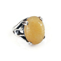 Yellow Jade Sterling Ring, Jade Scarab, Sterling Silver, Mutton Fat Jade, Vintage Ring, Vintage Jewelry, Size 7.25