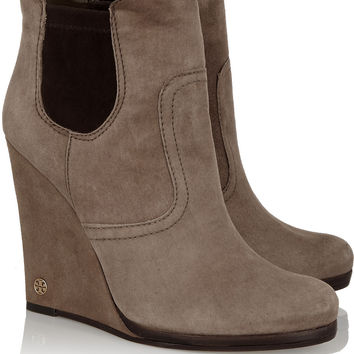 Tory Burch Hendin suede wedge boots – 50% at THE OUTNET.COM