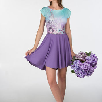 Wonderland hydrangea - short sleeve skater dress