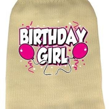 Birthday Girl Screen Print Knit Pet Sweater Sm Cream