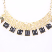 Black Squared Pendant High Polish Detailed Carved Necklace