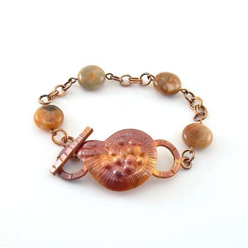 Patricia Healey Copper Shell With Flower Agate Coin Beads Bracelet