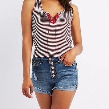 Striped & Ribbed Lace-Up Tank Top