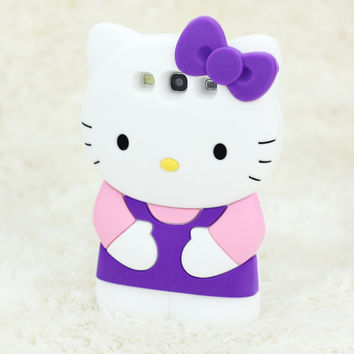 Cute Hellokitty Soft Silicone Case Cover Skin For Samsung Galaxy III S3 i9300