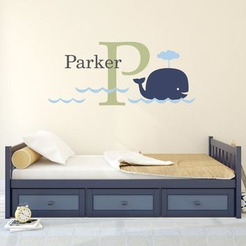 Big Whale, Initial & Name Decal Set - Kids Wall Decal - Whale Wall Sticker - Large