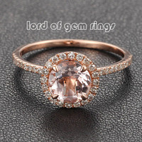 7mm Round Morganite & Diamond Halo Engagement Ring in 14K Rose Gold