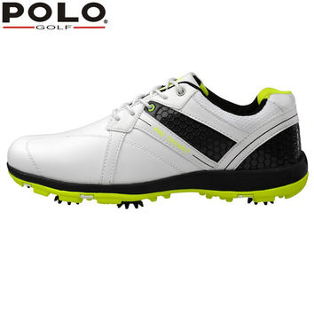 POLO Sport Golf Mens Golf Sports Spiked Genuine Leather Shoes Light weight & Spikes & Breathable & Steady & Waterproof