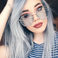 Flat Top Oversized Sunglasses Women 2017 Fashion Korean Sun Glasses For Woman Rimless Flat Lens Womens Shades Pink Lunette Femme