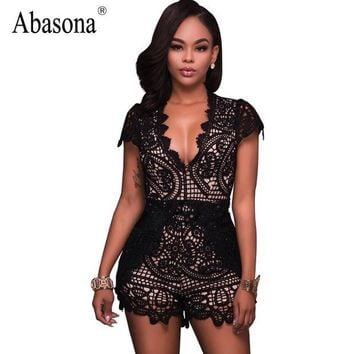 PEAPJ Abasona Black floral embroidery bodysuit Sexy deep v neck boho lace crochet jumpsuit romper Summer fashion streetwear playsuit