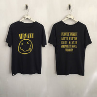 Nirvana shirt 1992 vintage t shirt band t-shirts 90s grunge clothing Corporate Rock Whores tshirt distressed tee faded black medium
