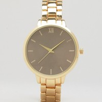 New Look Gold Oversized Dial Watch at asos.com