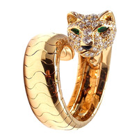 Cartier Panther Onyx Emerald Diamond Yellow Gold Ring