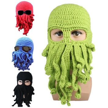 Men's winter hat 2017 Hot Unisex Octopus Pattern Winter Warm Knitted Wool Ski Face Mask Knit Hat Squid Cap Women's Winter Hats