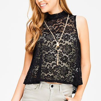 BLACK SHEER LACE SLEEVELESS MOCK NECK CHAIN NECKLACE CROP TOP
