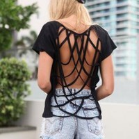 Black Cap Sleeve Tee with Open Draped Lattice Back