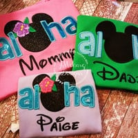 Aloha Custom embroidered Disney Inspired Vacation Shirts for the Family!