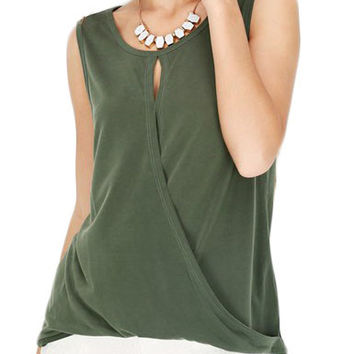 Cypress Round Neck Sleeveless Cross-over Front Top