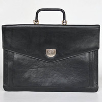 Genuine Black Leather Briefcase  / Folio Case / Laptop Case /  Vintage  Luggage