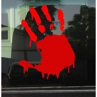 "BLOODY ZOMBIE HAND PRINT(Right Hand) - 5.5"" RED (IKON SIGN ORIGINAL) - Vinyl Decal WINDOW Sticker - NOTEBOOK, LAPTOP, WALL, WINDOWS, ETC. : Amazon.com : Automotive"
