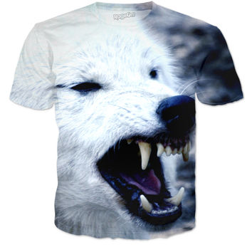 Angry Arctic wolf