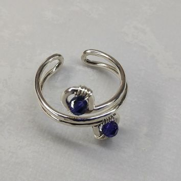 Sterling Silver Purple Crystal Adjustable Wire Wrap Finger Toe Ring
