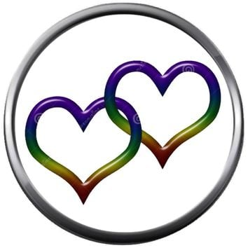 Two Hearts Intertwined Colorful Rainbow Pride Gay Lesbian Transgender Pride LGBT LGBTQ 18MM - 20MM Snap Jewelry Charm