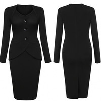 Women Fashion V Neck Long Sleeve High Waist Solid Stretch Office Work Business Party Bodycon Dress