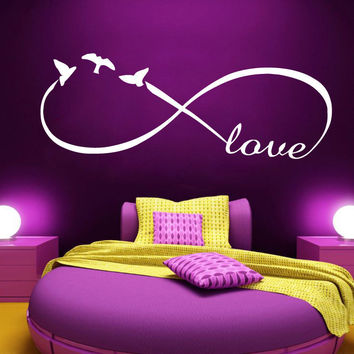 Wall Decals Love Infinity Symbol Sticker Bird Vinyl Home Decor Bedroom Art SM40
