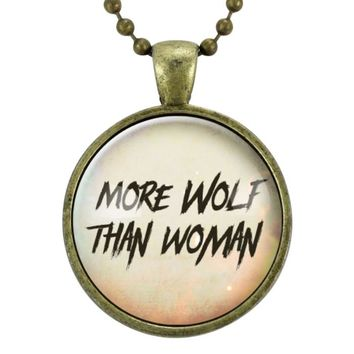 More Wolf Than Woman Feminist Necklace, Womens Rights And Feminism Jewelry