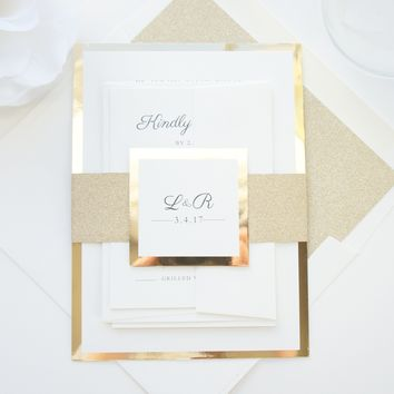 Ivory and Gold Glitter Wedding Invitation, Glitter Wedding Invitations, Elegant Wedding Invitations - SAMPLE SET