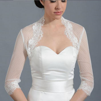 Newest Style  3/4 Long Sleeve Wedding Jacket Vintage White Wedding Lace Applique Bolero Bridal Shrug