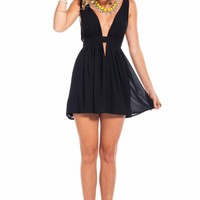 Heaven dress in black - little black dress with deep v neckline  & flared bottom | SHOWPO Fashion Online Shopping