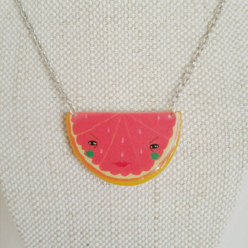 24 HOUR SALE - Bitter Grapefruit necklace// statement jewelry // Shrink plastic and polymer clay necklace // quirky jewelry