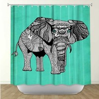 Artistic Shower Curtain | Pam Gallegos- Pom Graphic Design | Elephant of Namibia Color | Dianoche Designs